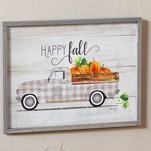 Plaid Truck Fall Wood Wall Art